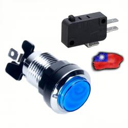 Boton LED Azul Cromado