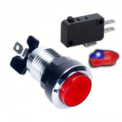 Boton LED Rojo Cromado