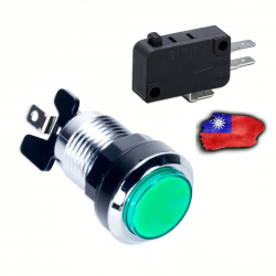 Boton LED Verde Cromado